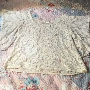 KENAR embroidery sheer Ivory blouse